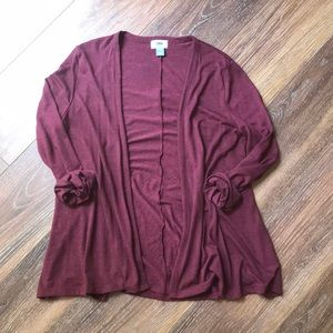Heathered wine colored open front cardigan